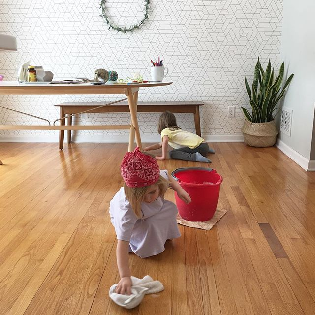 """This morning I told them we were going to clean the floors and play """"Sing Sweet Nightingale"""" and they totally got the vision. It was fun to have Cinderella and Gus help me clean, but let me tell you that was one wet floor! And Jane was only slightly disappointed that we weren't surrounded by bubbles floating through the air. #itsahardknocklife"""