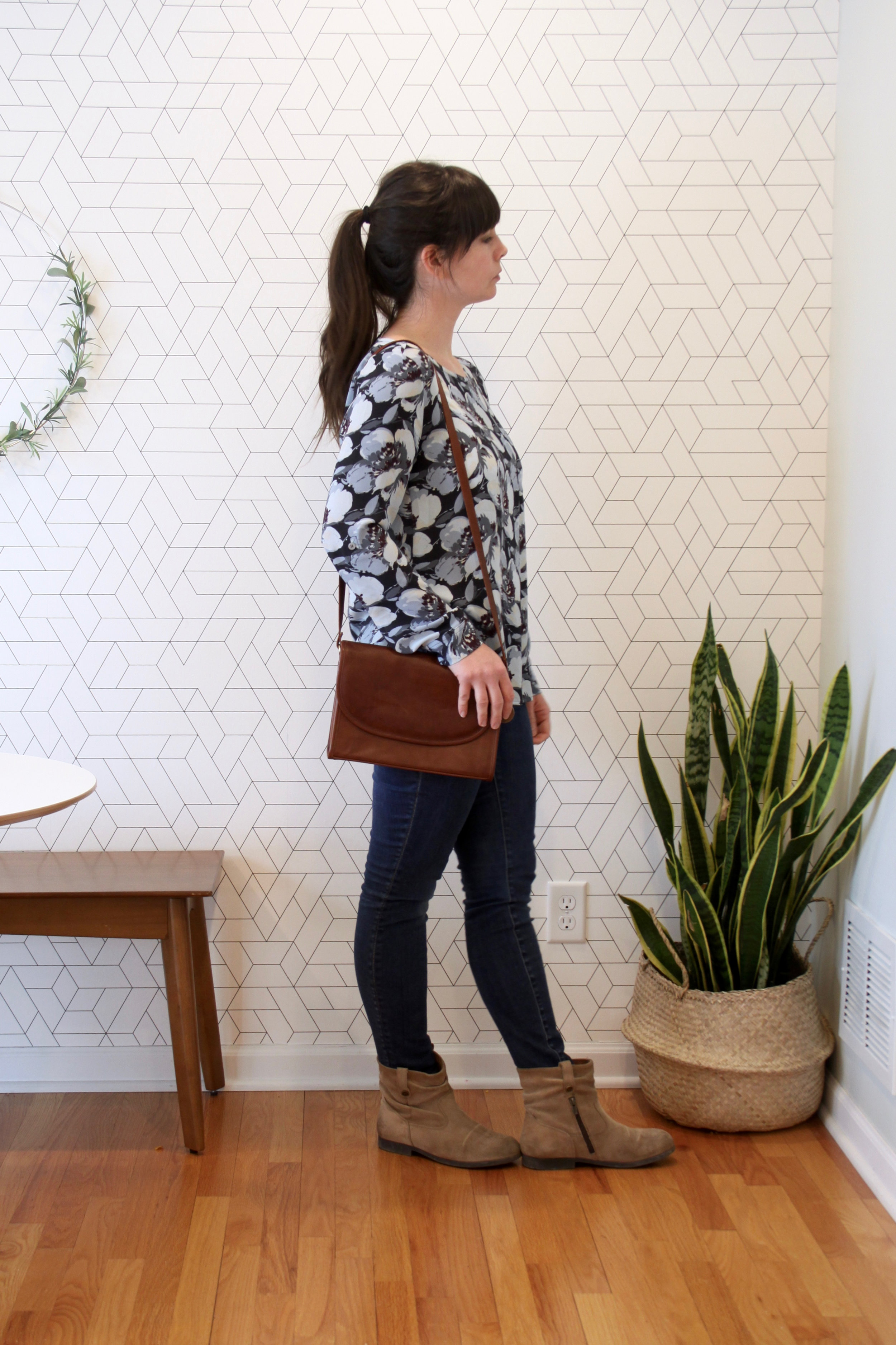 Spring 10x10 Challenge Floral Blouse and Skinny Madewell Jeans