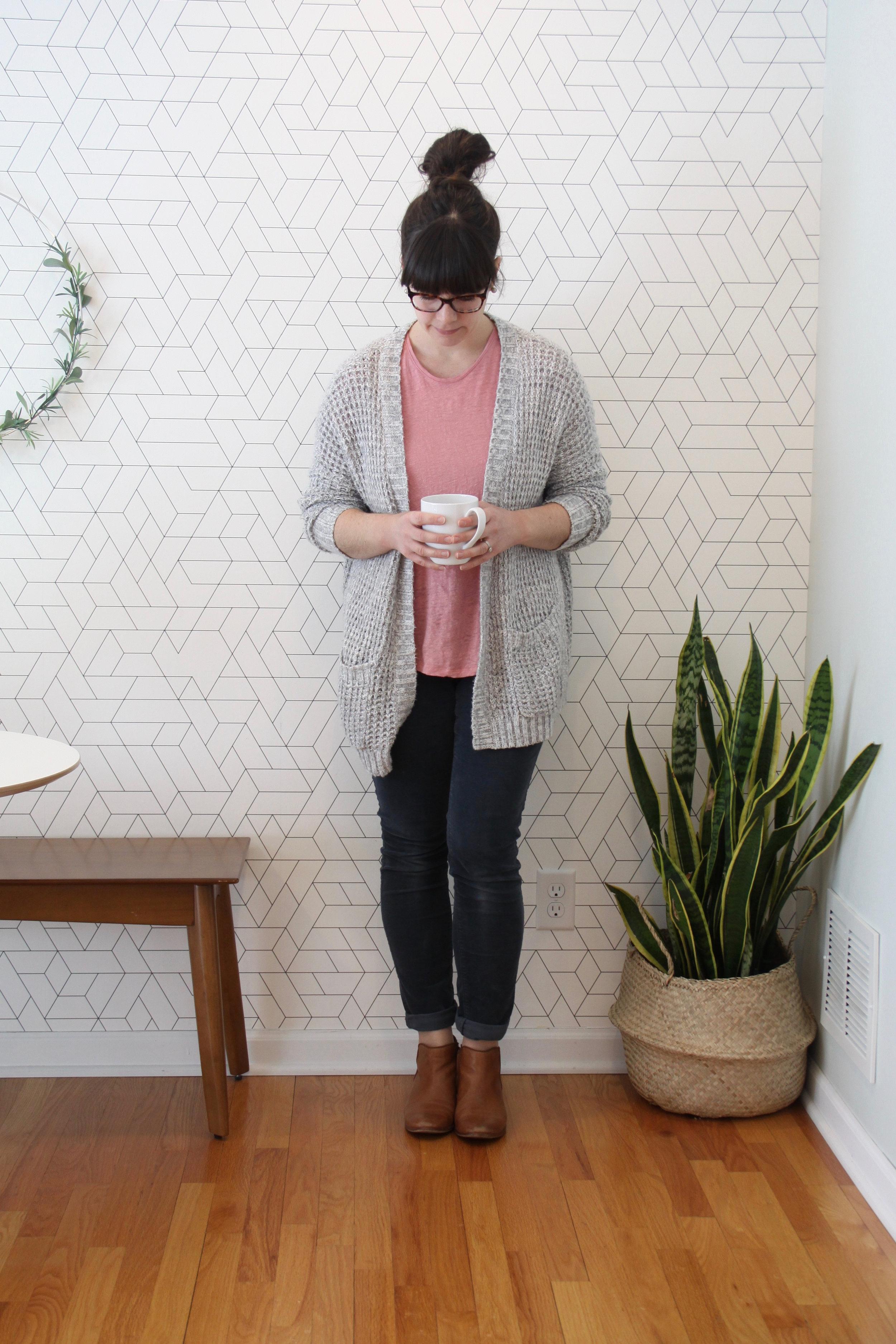 Spring 10x10 Capsule Wardrobe Challenge Pink Linen Tee and Cardigan