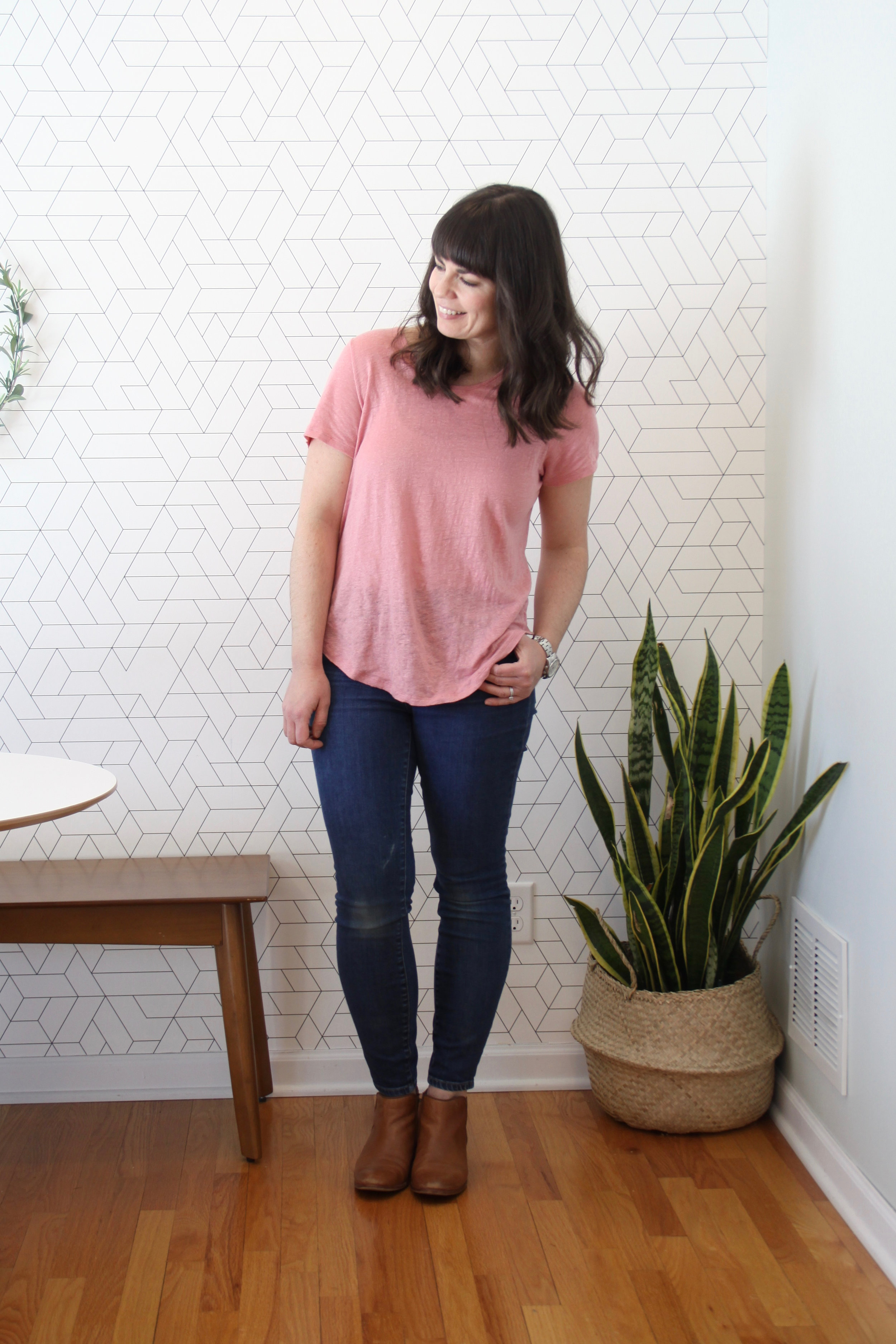 Spring 10 x 10 Wardrobe Challenge Pink Linen Tee and Madewell Skinny Jeans