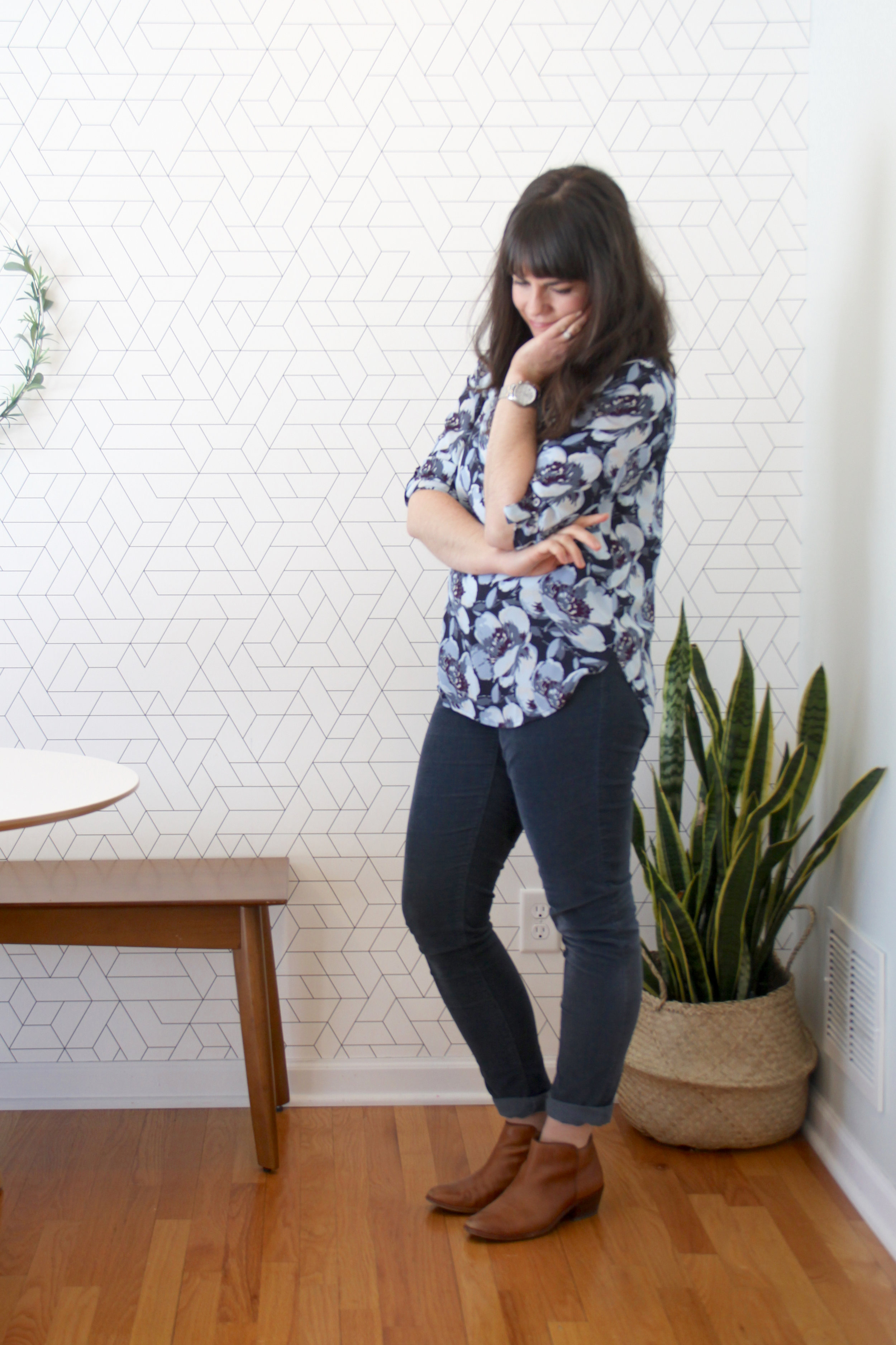 Spring 10 x 10 Challenge Floral Blouse with Cords