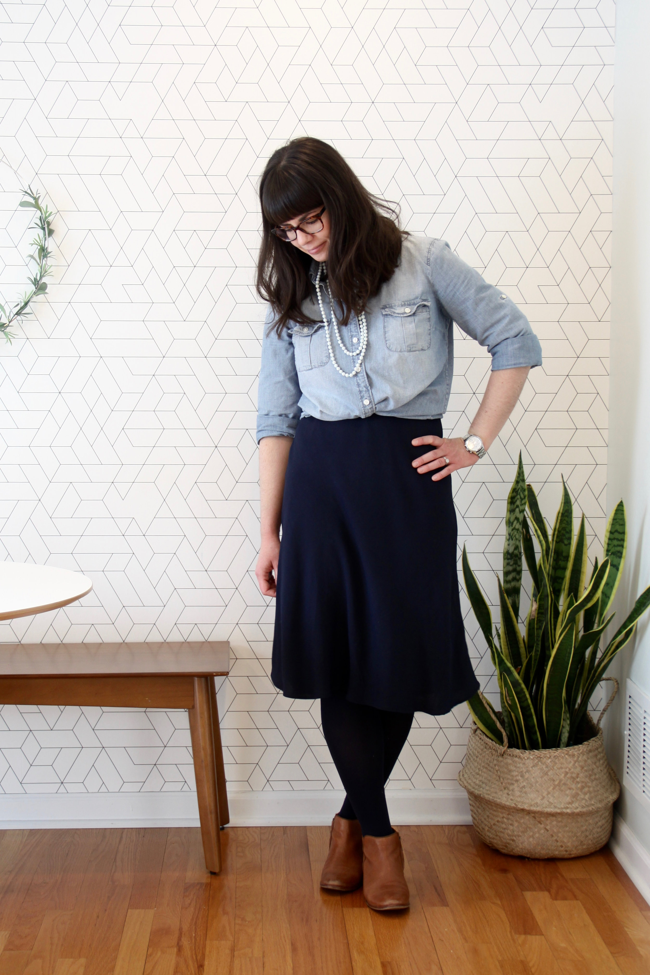 Spring 10 x 10 Navy Crepe Dress with Chambray Shirt