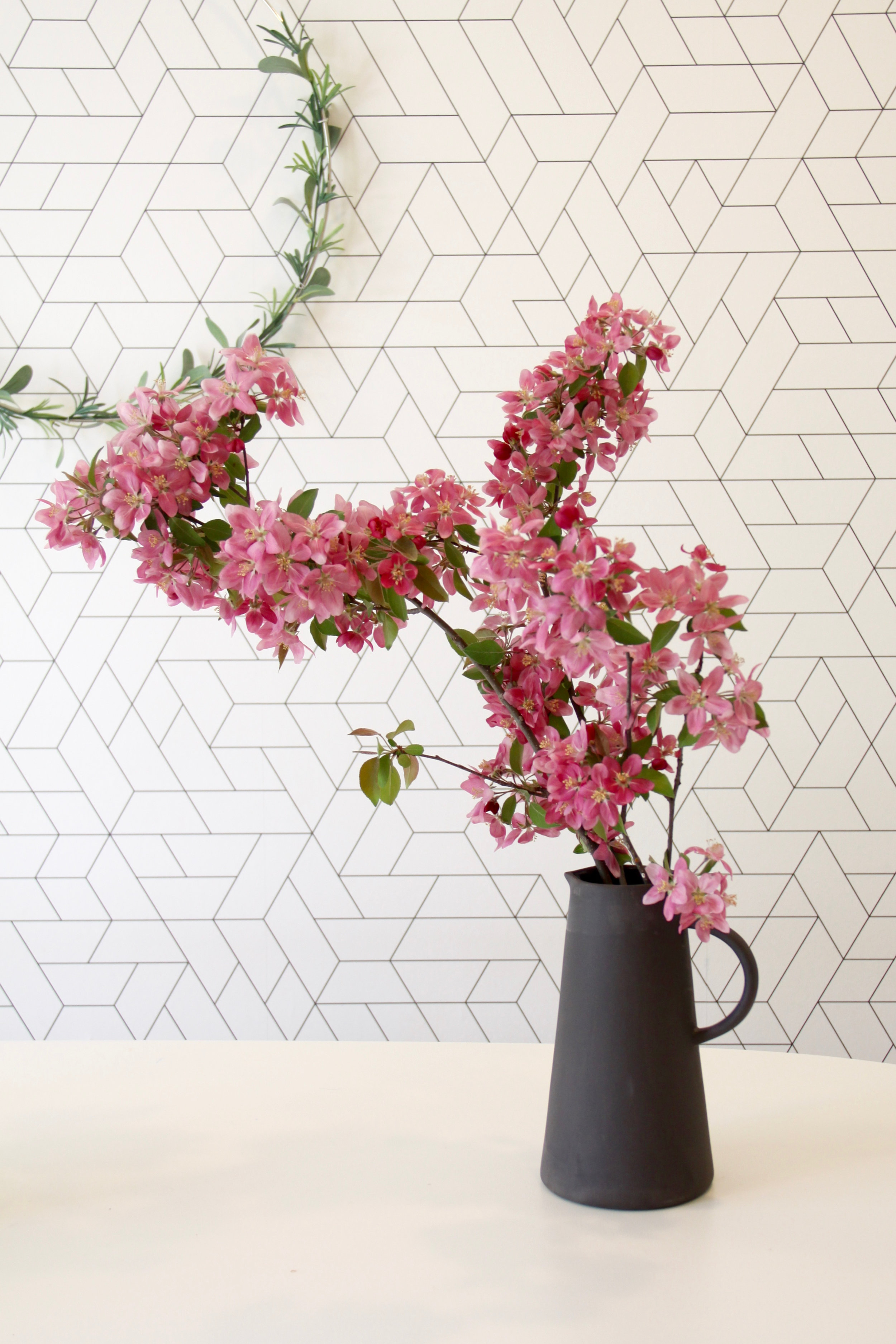 Flowering Branches in Black Matte Vase
