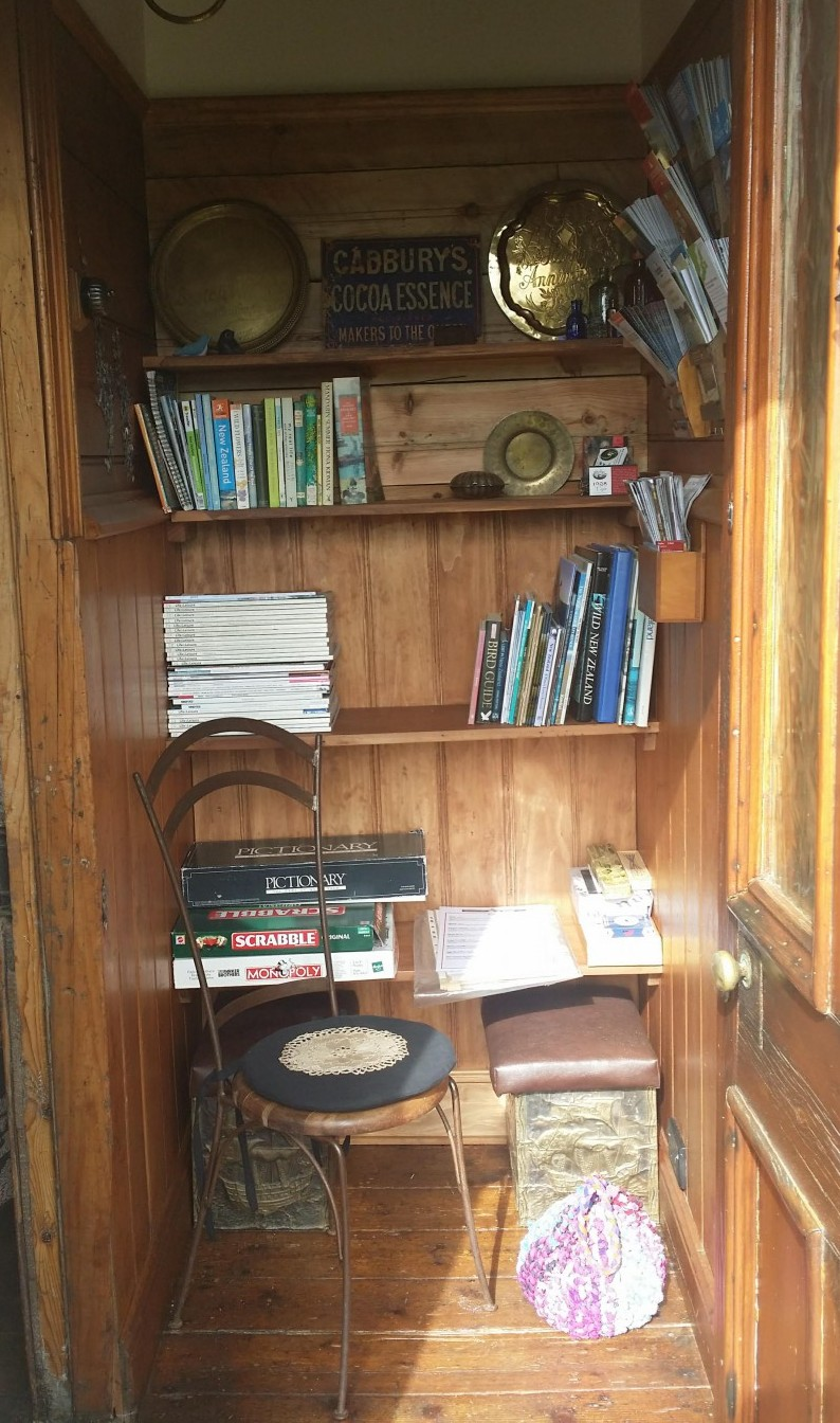 The Library - books, brochures, menus, games and a seat in the sun