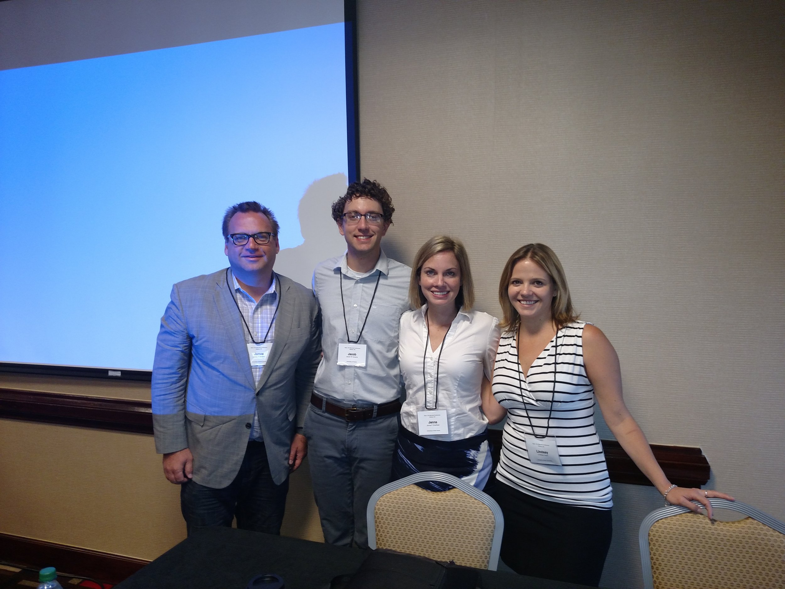 With UNF Rhet/Comp alums Jacob Greene (UF), Jenna Pack Sheffield (Arizona), and Lindsay Head (LSU) at the Spring 2016 Conference of the Rhetoric Society of America, Atlanta, GA.