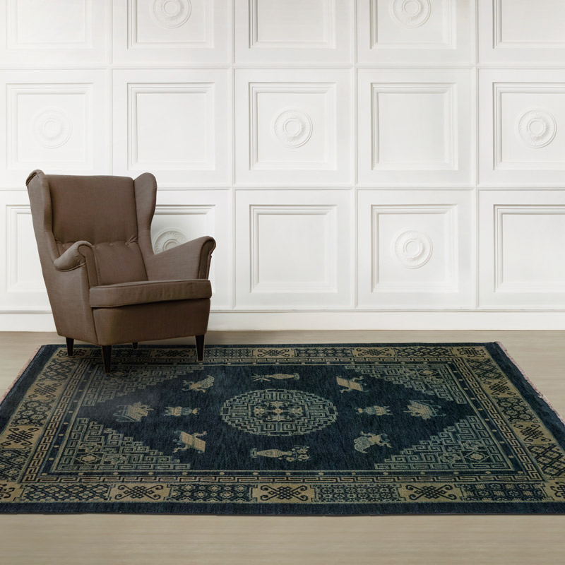 100道手工羊毛毯#001694  5 x 7 (150 x 210 cm)