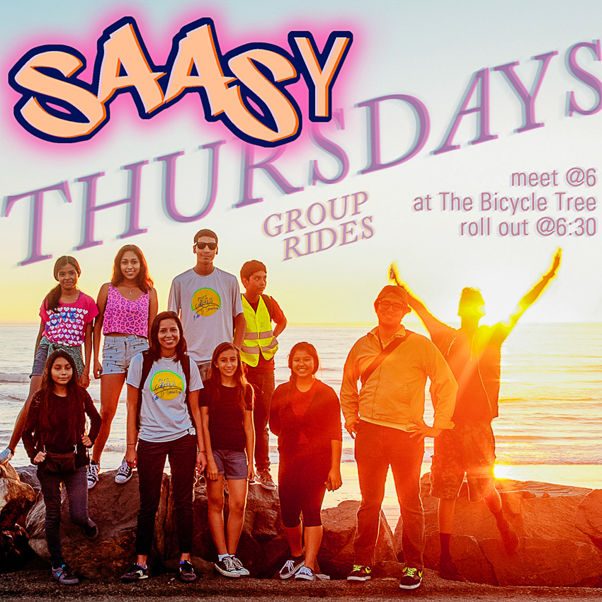 Flyer for the 2015 SAASy Thursday summer ride series.