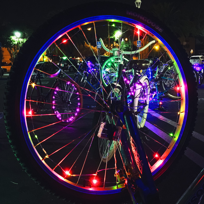 Colorful lights on the SAAS/ The Bicycle Tree Ride of Lights.