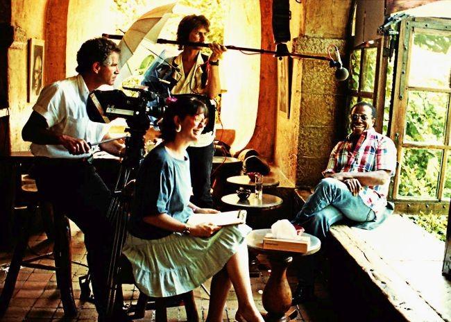 """Director Karen Thorsen filming """"The Price of the Ticket,"""" interviewing David Baldwin, the brother James Baldwin."""