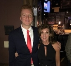 Cameron, c/o 2021 and his mother, Andrea, and a fraternity function