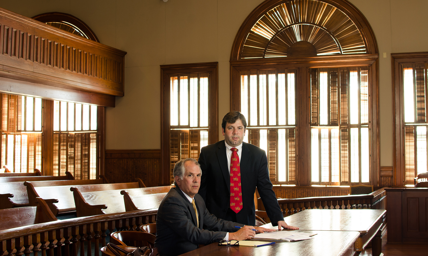 Attorneys Bruce W. Kirbo Jr. and Wheat B. Kirbo III in the courtroom in Bainbridge, GA.