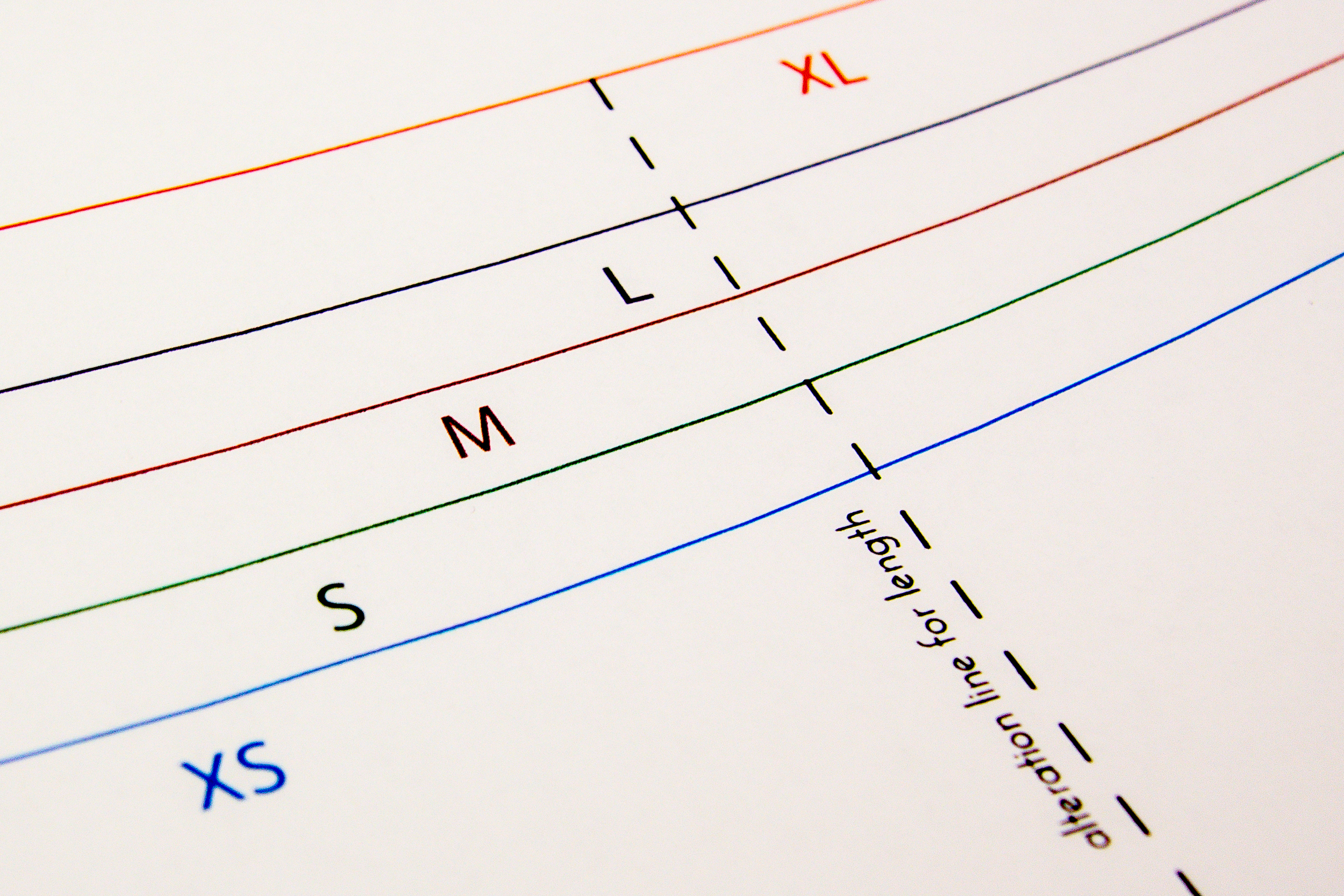 4 patterns on durable paper with color-coded sizing lines.
