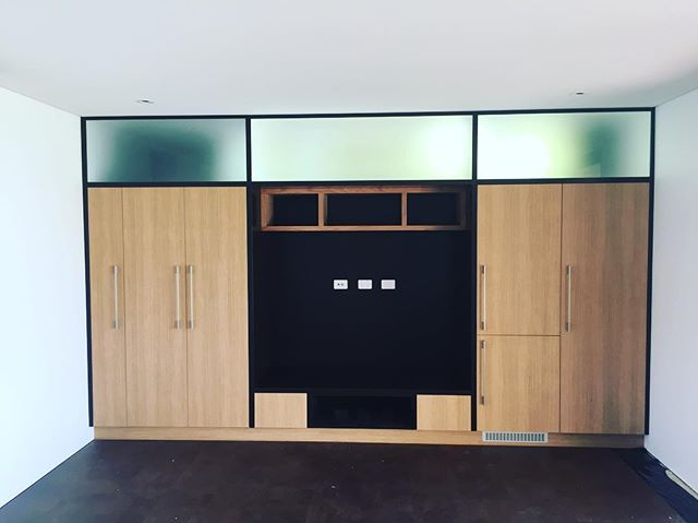Limed American Oak Lacquered framing. Games room Audio/Kitchenette / Intergraded fridge/ Microwave/ Sink . Ready for Plasma TV install. #dunsborough #tvcabinet #americanoakveneer #kitchenette #audio #tvcabinet #gamesroom #downsouth #busselton #yallingup