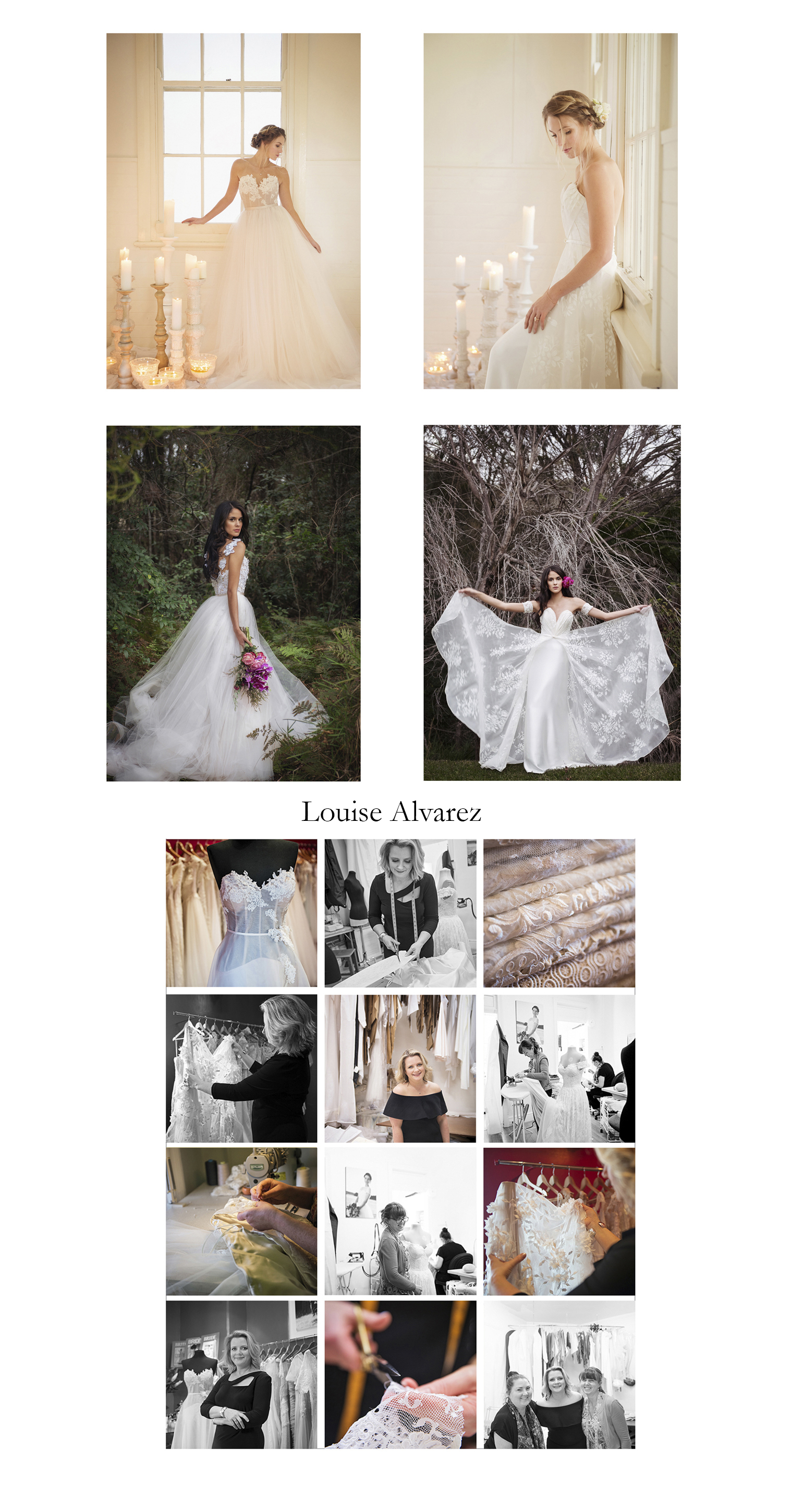 Louise Alvarez Couture Bridal and Evening Wear designer based on the Sydney North Shore  Images for editorial and social media content