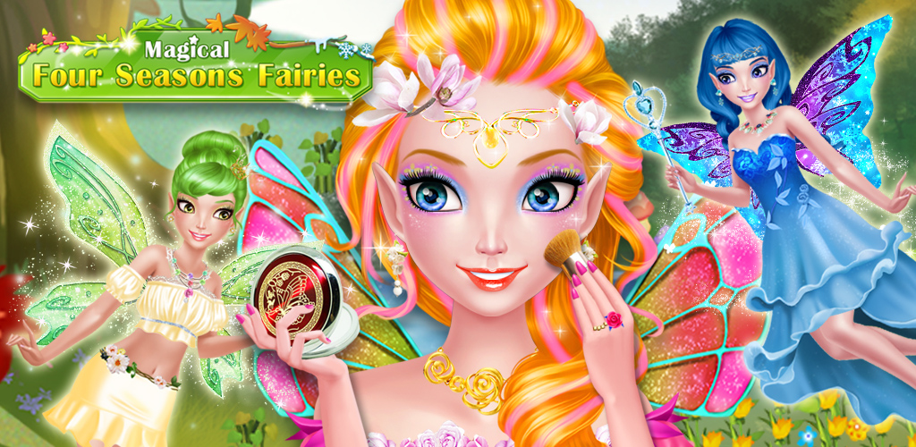 Seasons Fairies - Beauty Salon  - Help pretty little fairy girls get ready for the fashion show!  - Dress each one up in beautiful outfits, makeup, hairstyles and more.