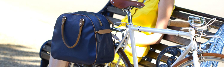 Birkdale blue leather pannier on bike