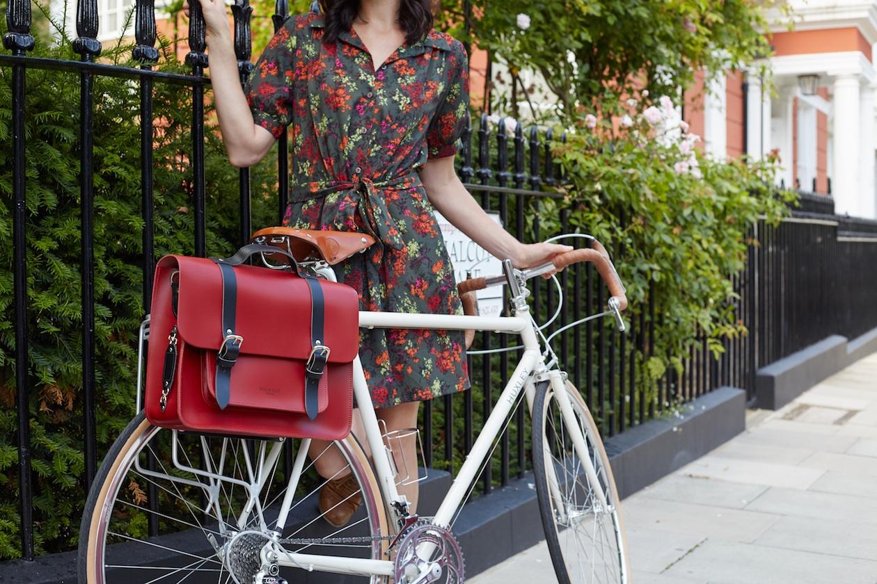Bertie red leather bike bag