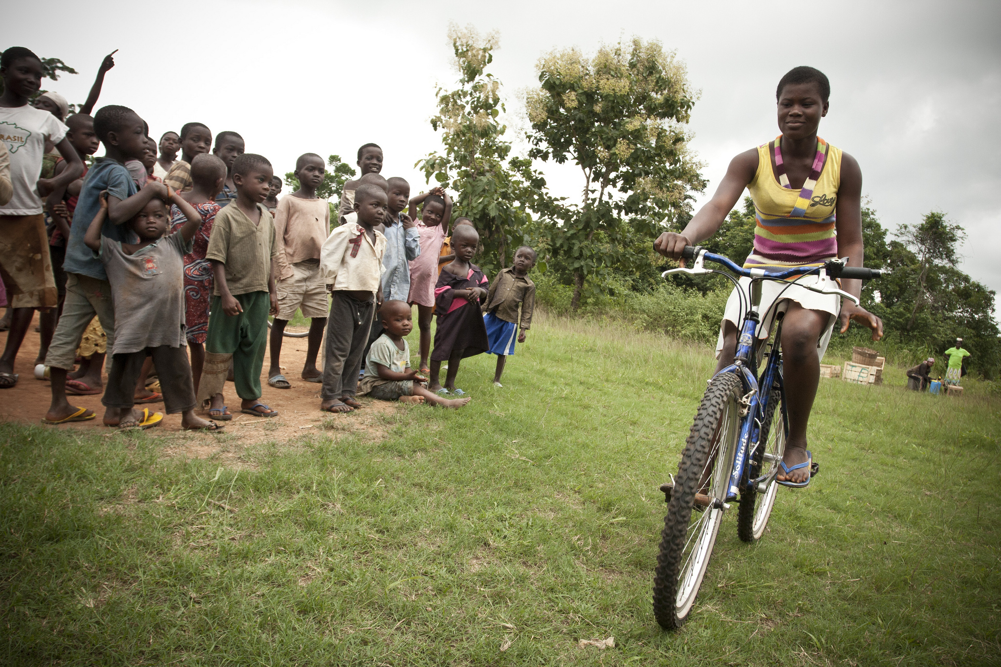 Girl trying out her bike