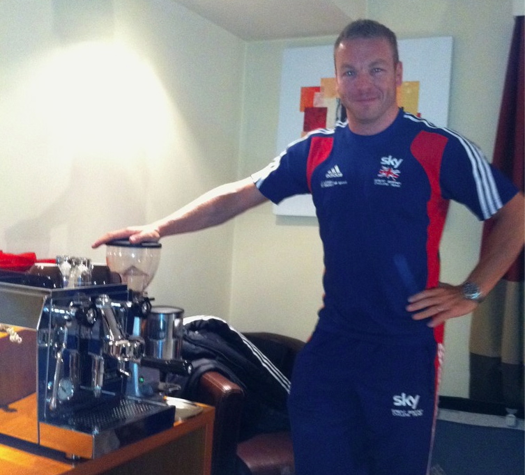 Sir Chris Hoy with his trusty coffee machine