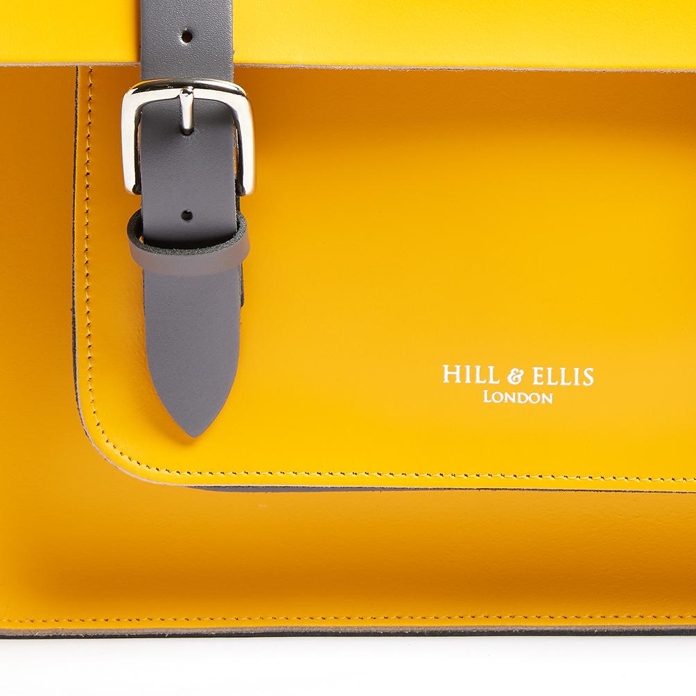 Yellow leather satchel bike bag