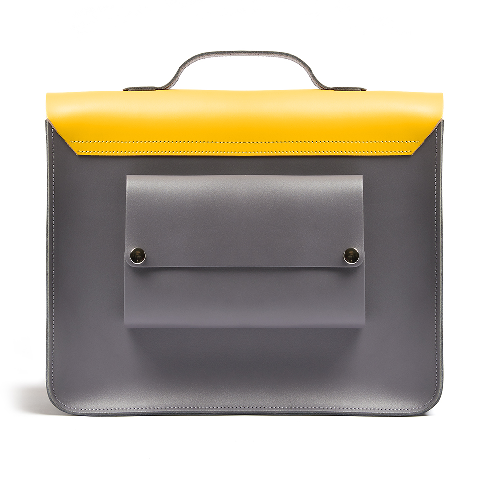 A yellow leather satchel bag