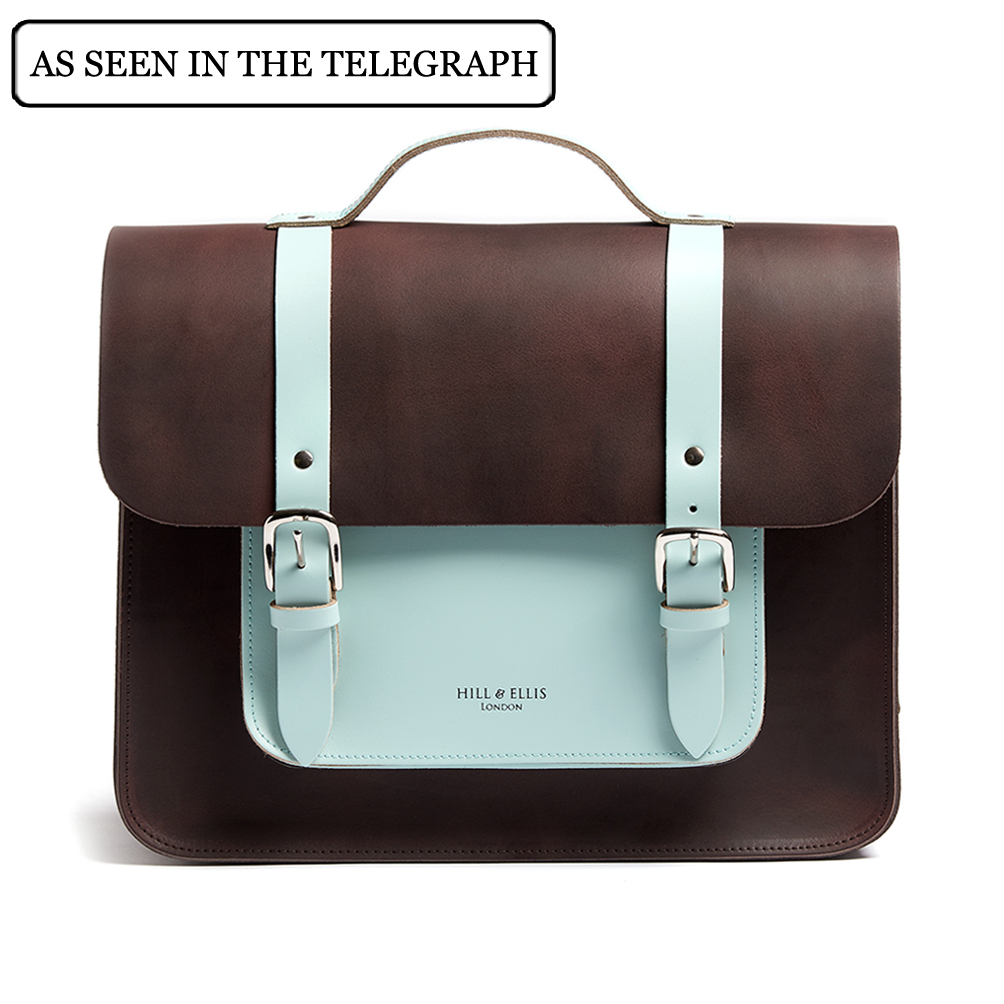 Brown and mint satchel bike bag