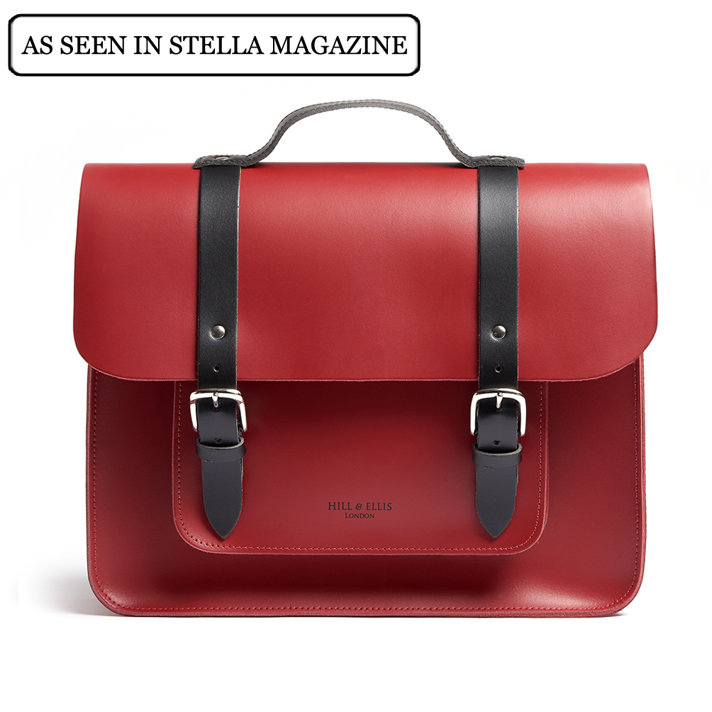 Red and black satchel pannier