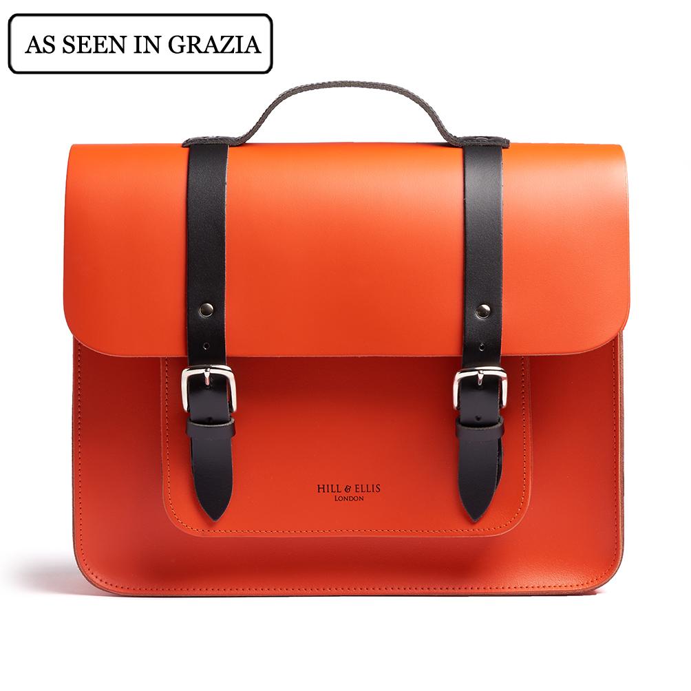 Orange and black satchel bike bag