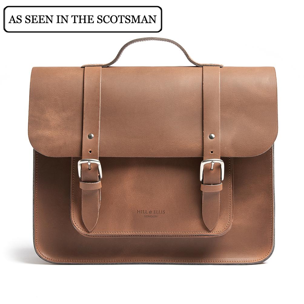 Tan brown satchel bike bag