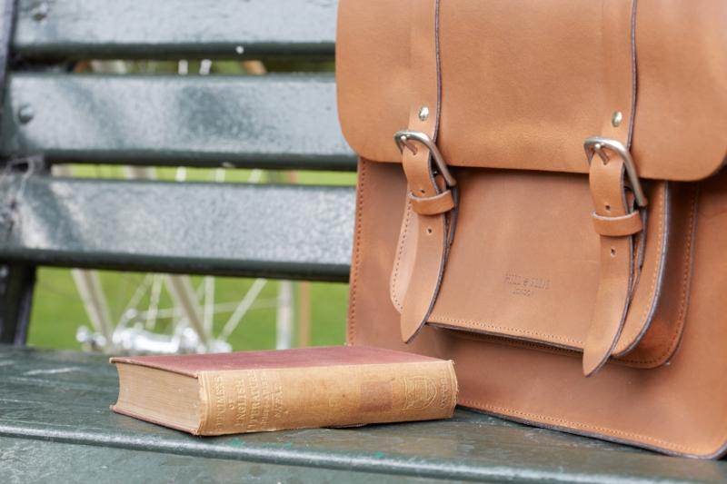 Tan satchel bike bag
