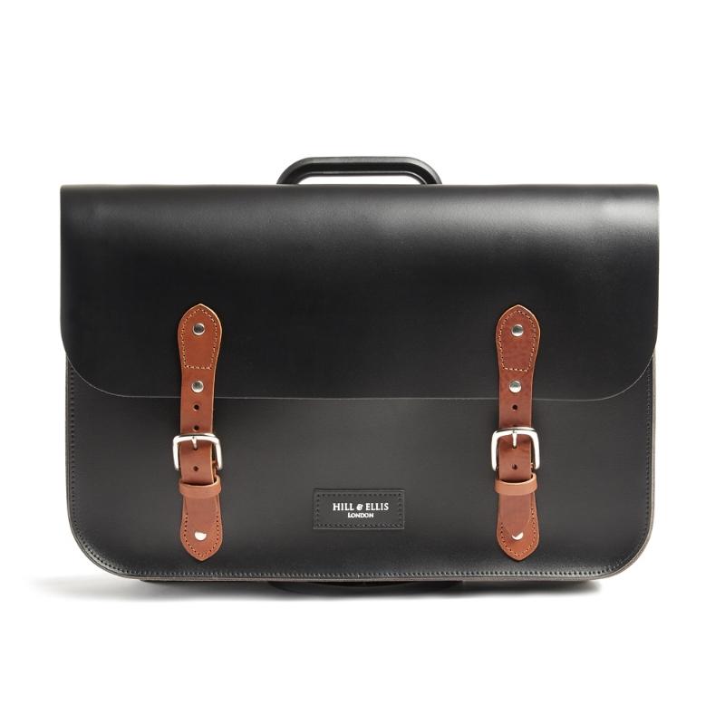 Black and tan leather bag for Brompton bike