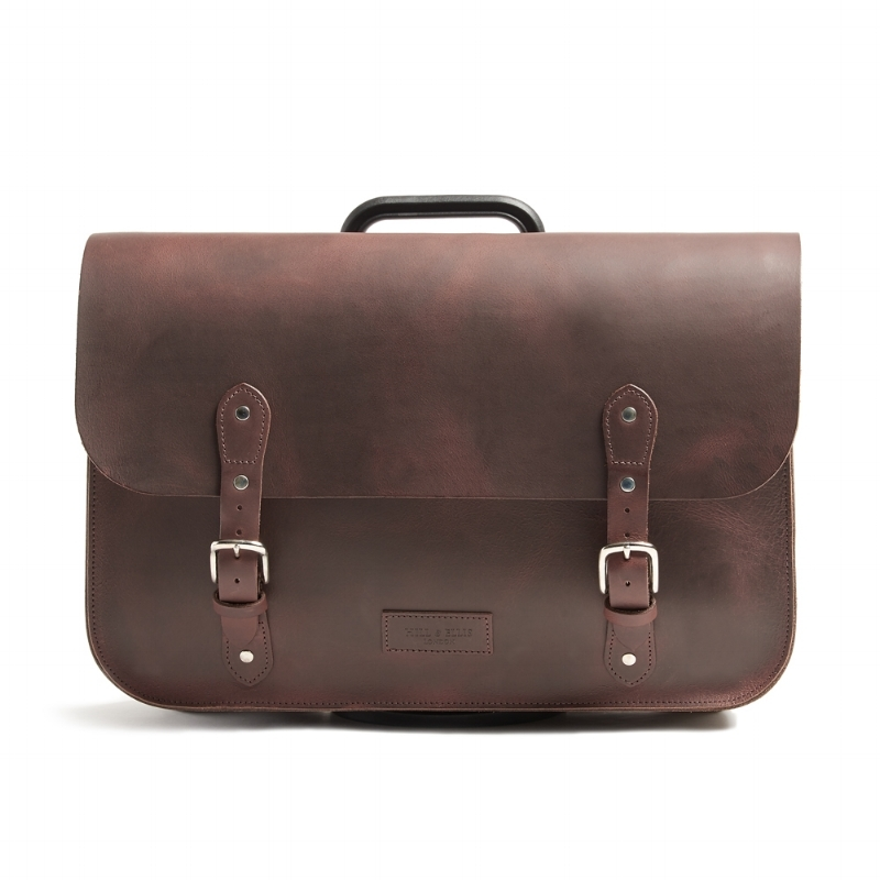 Brown leather bag for the Brompton bike