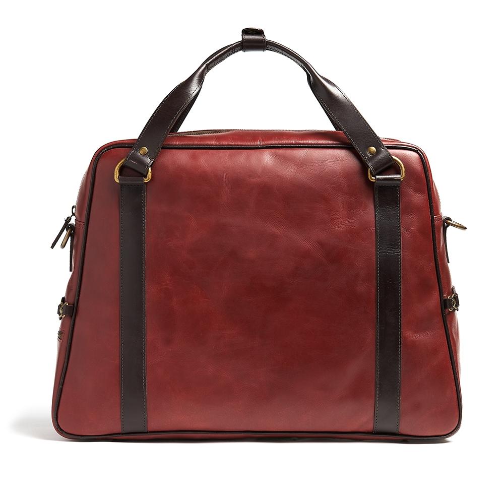 Red leather bike bag