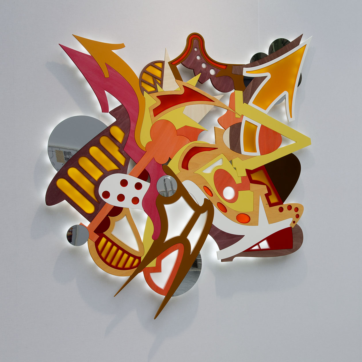 JonOne,  Untitled , 2014, Wood, Plexiglas, LED lights - 160 x 160 cm - Courtesy the artist and Rabouan Moussion Gallery Paris