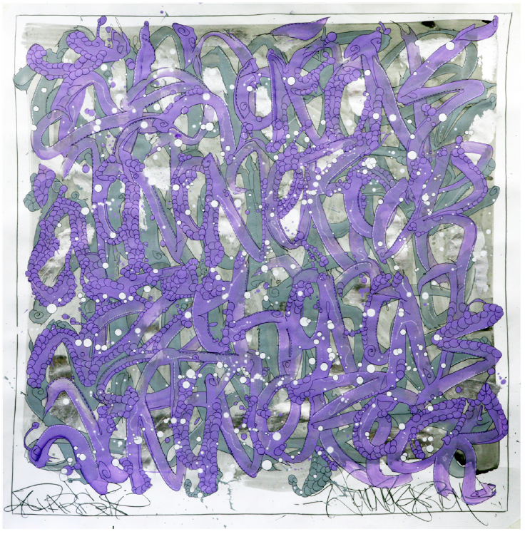 JonOne,  Untitled , 2014, - 126,5 x 126,5 cm - Courtesy the artist and Rabouan Moussion Gallery Paris