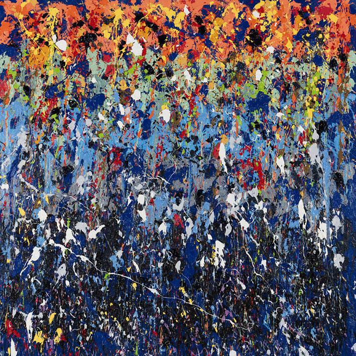 Bounced, 2016, Huile sur toile, 180 x 180 cm