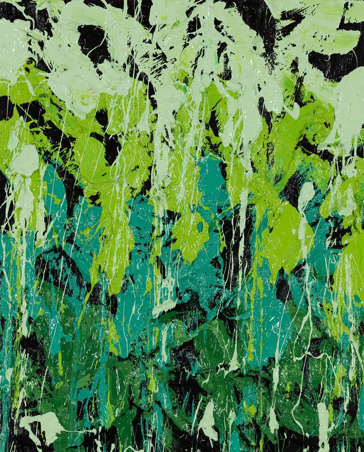 Green Lights, 2016, Huile sur toile, 70 x 56 cm
