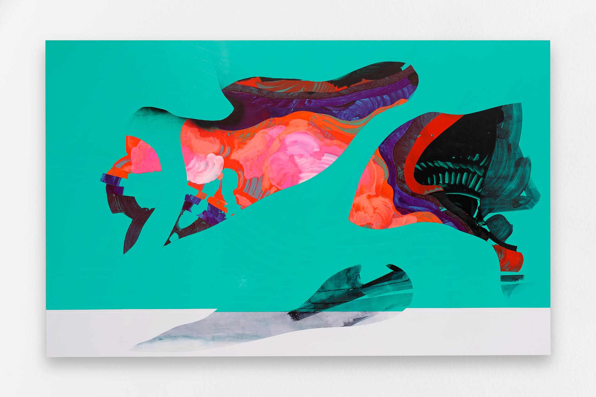 Fabrice Yencko   L3B023 , 2016 Peinture et encre sur vinyle adhésif et plaque aluminium 160 x 100 cm  Courtesy the artist and Galerie Rabouan Moussion Crédit photo : Aurélien Mole