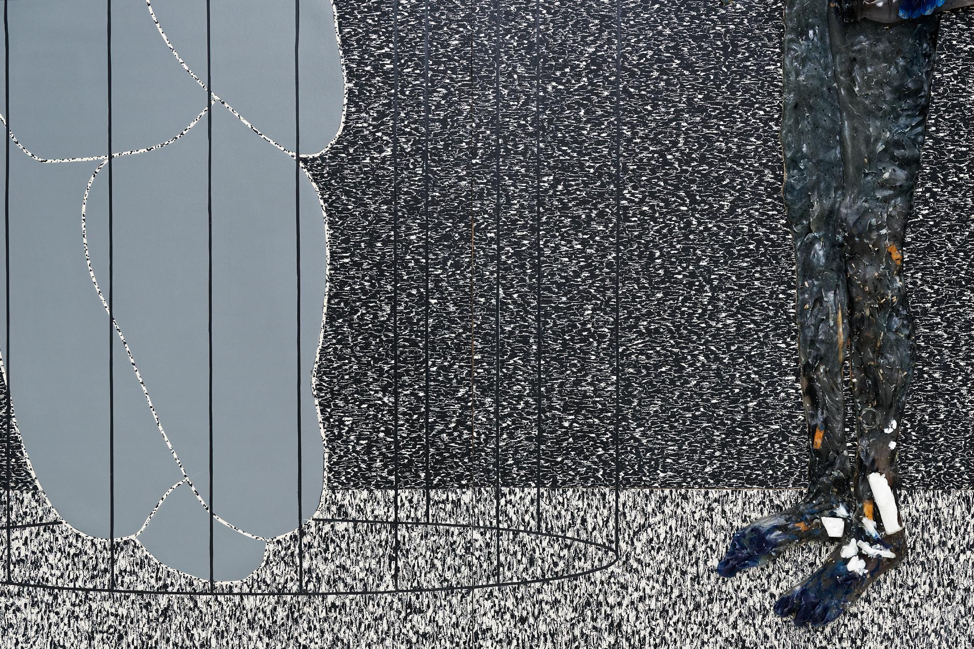 Aline Bouvy    Rub sore, 2015 Linoléum naturel sur bois et résine avec pigments, paille, mégots, pièces de monnaie,200 x 164 cm, détail  Courtesy the artist and Galerie Rabouan Moussion Crédit photo : Aurélien Mole