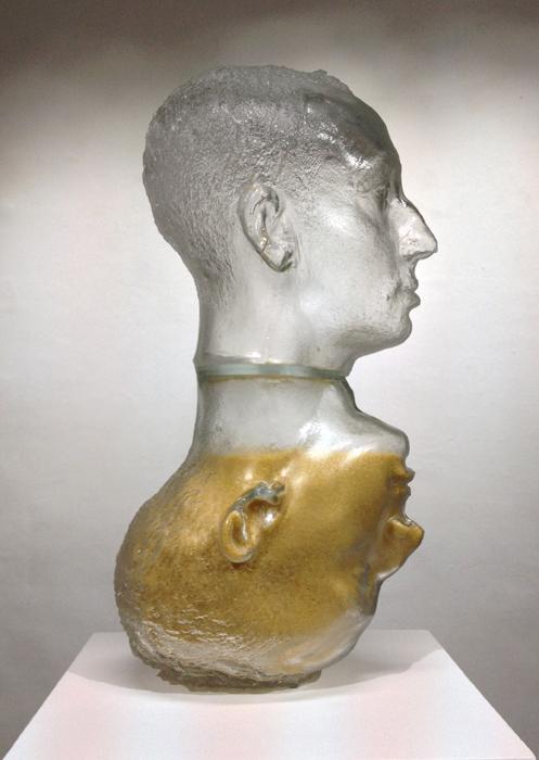 Mehdi-Georges Lahlou,  Hourglass, Head, mold-blown glass, couscous 47 x 18 x 23 cm, 2014- Courtesy the artist and Rabouan Moussion Gallery Paris