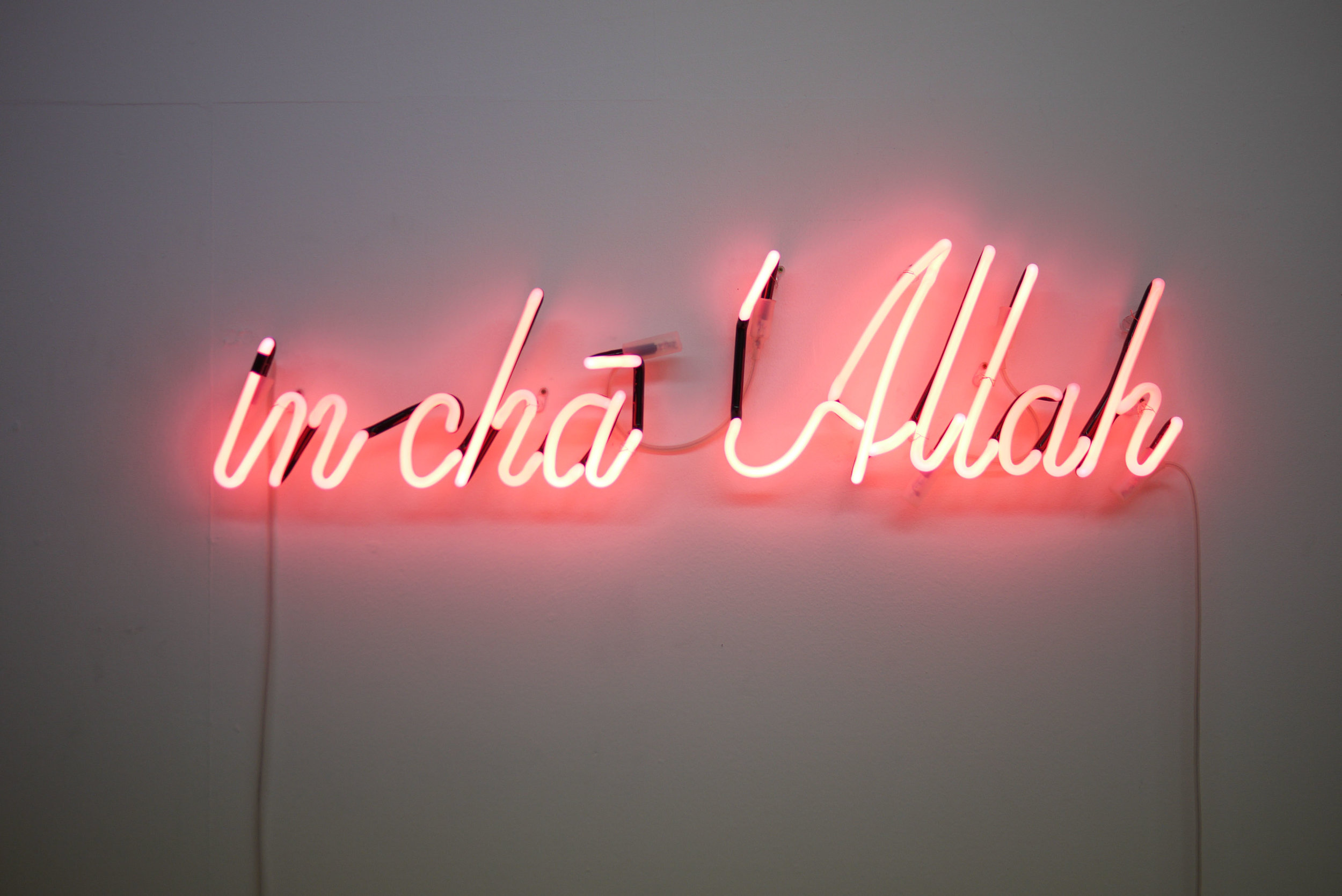 In cha Allah- Rose, 2010, Néon, 24 x 100 x 4 cm- Courtesy the artist and Rabouan Moussion Gallery Paris