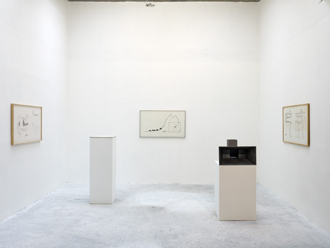 """Vue de l'exposition """"Une Pièce de plus"""", CCC de Tours, 2010. """"Initiation space n°1"""", """"Initiation space n°2"""", """"Initiation space n°3 """" (1970).Tirages gélatine sur papier, 1970 et maquettes, 2010"""