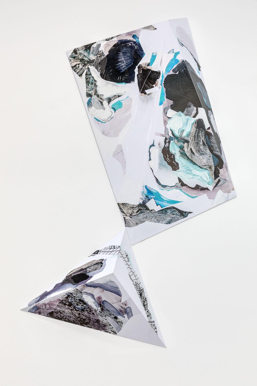 Sans titre, 2017, Encre et acrylique sur vinyle adhésif PVC collé sur dibond 3mm plié, œuvre unique