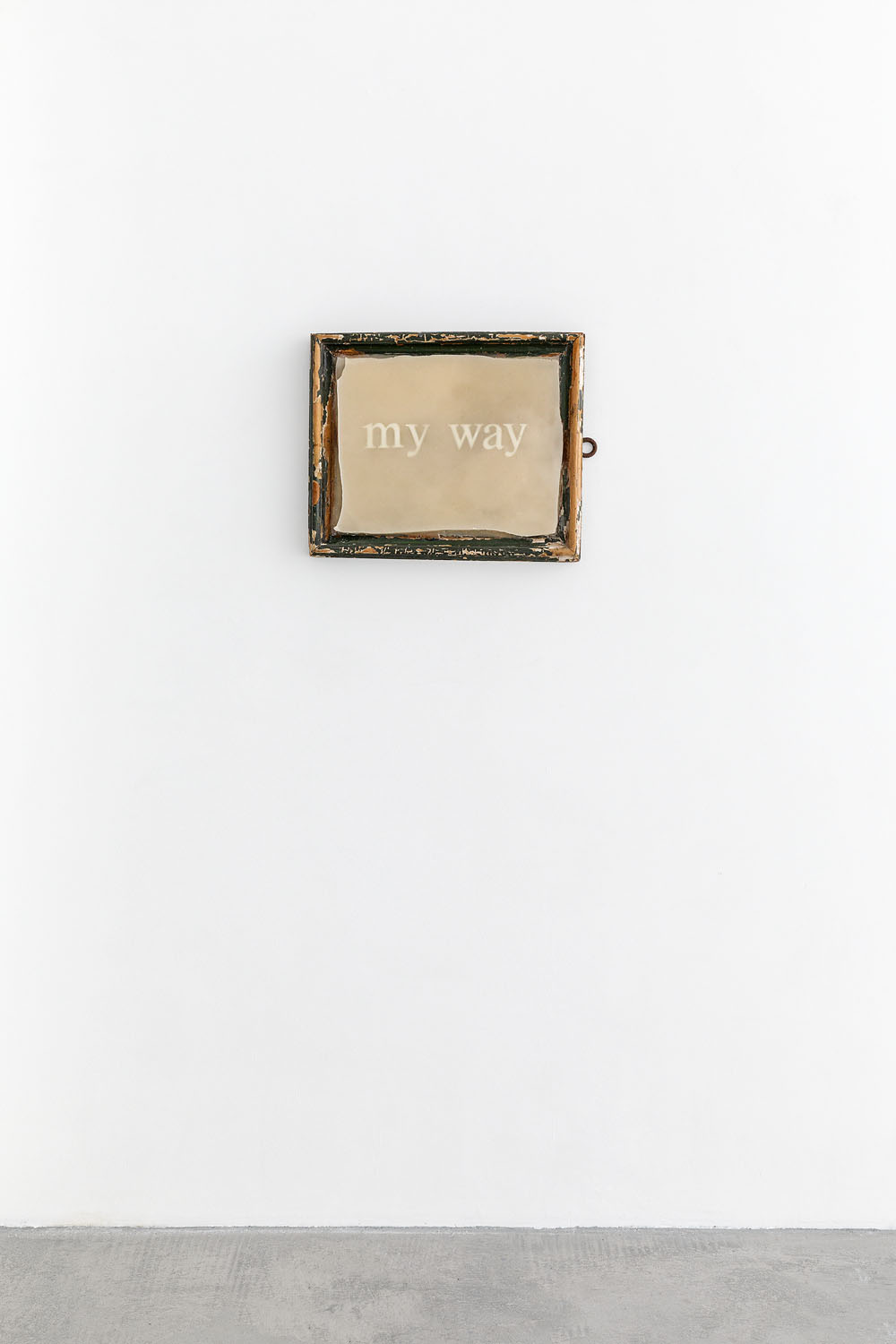 MY WAY, 2018  Wax, vintage frame, fluorescent word 45 x 50 cm  Courtesy the artist and Rabouan Moussion Gallery Photo Credit : Romain Darnaud