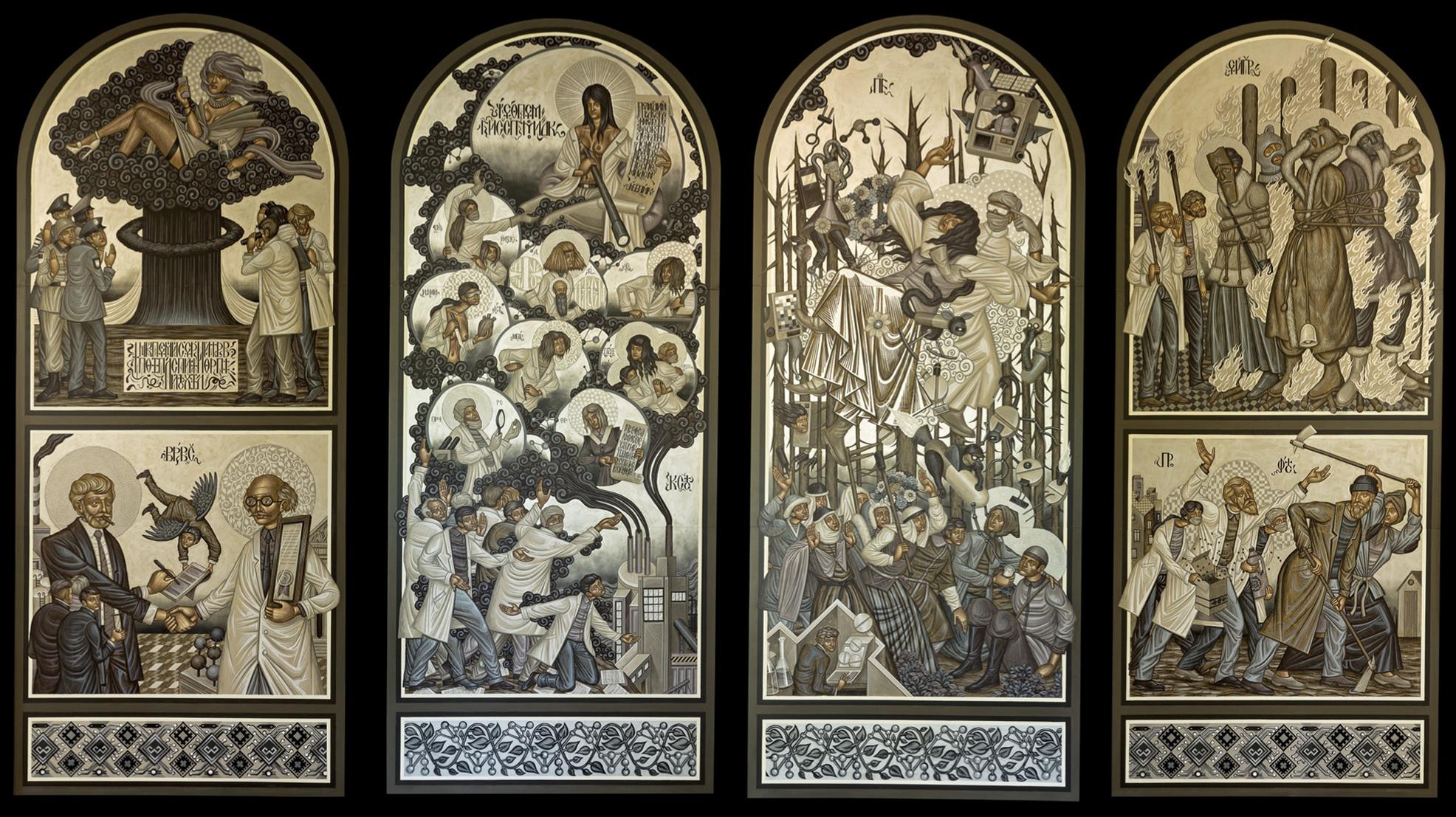 """Stelios Faitakis """"New Religion"""" mixed media on dibond panels 433 x 184 cm each"""