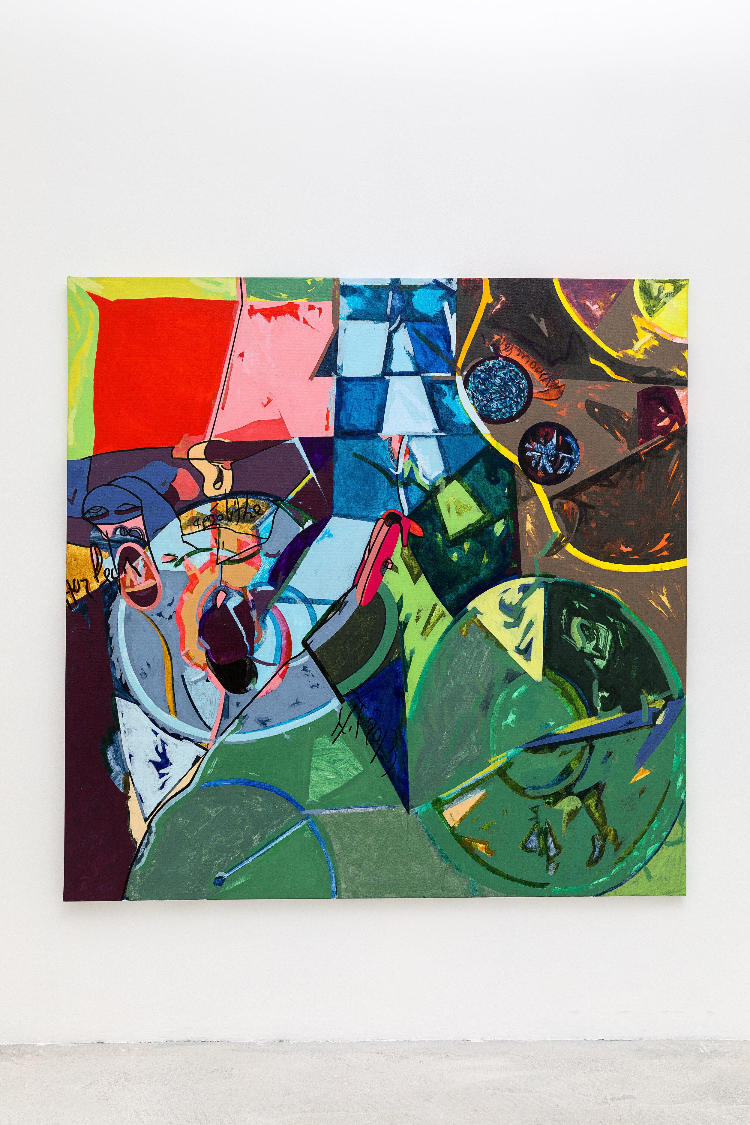 Les Mouches, 2012, Acrylique sur toile, 162x162 cm