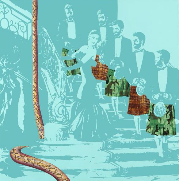Pénélope et les prétendants, 2006, acrylique sur toile, 150 x 150 cm
