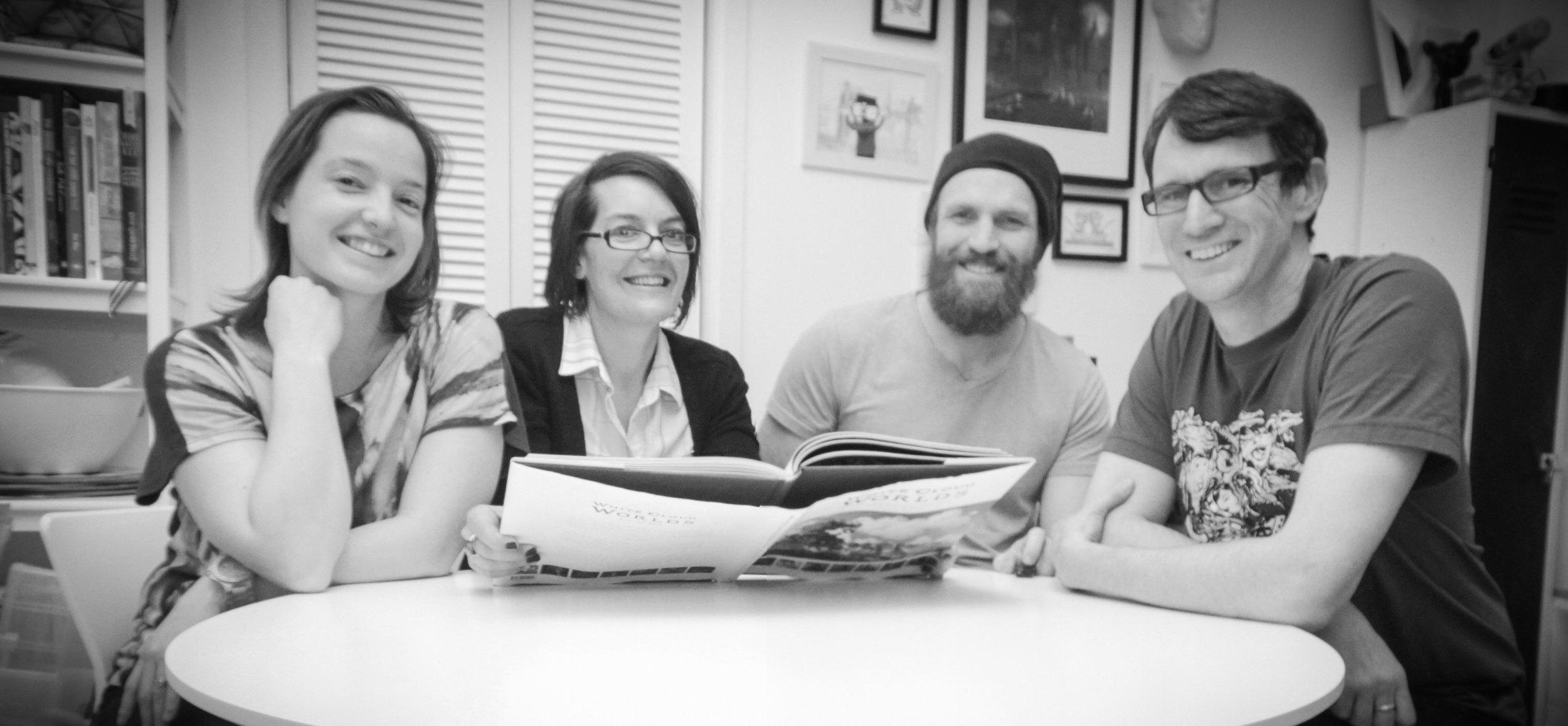 From left: Monique Hamon (Layout Artist) , Kate Jorgensen (Project Manager), Isaac Hamon (Marketing) and Paul Tobin (Founder/Editor).