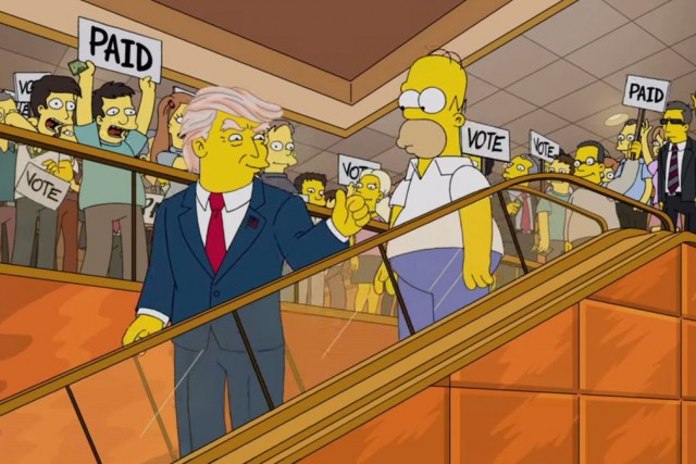 The Simpsons cartoon series took up the claim that Donald Trump paid people to seem like supporters during his speech announcing his intentions to run for president.