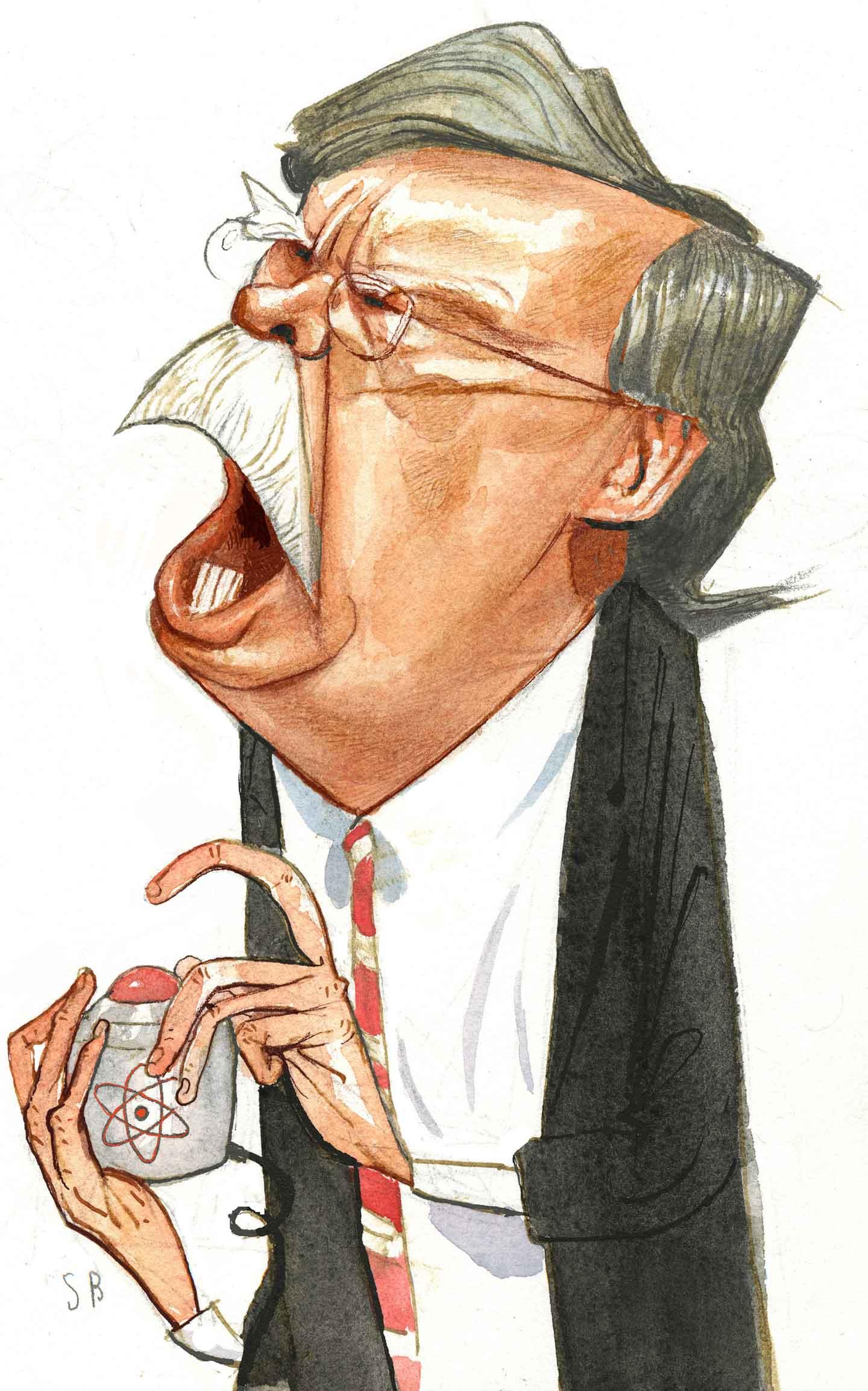 John Bolton's finger on the button by Steve Brodner -  stevebrodner.com